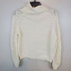 NWT Planet Gold Ivory Cowlneck Cable Knit Sweater